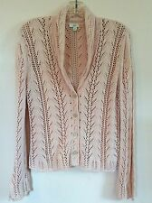 J.JILL XS Blush Pink Crochet Knit Shawl Collar Cardigan Sweater 100% Cotton