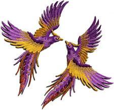Phoenix phenix birds violet purple yellow gold appliques iron-on patches S-1341