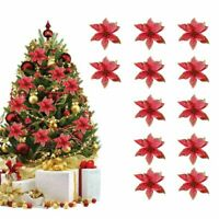 12X Glitter Christmas Flower Tree Hanging Ornaments Festival Xmas Decor Prop UK
