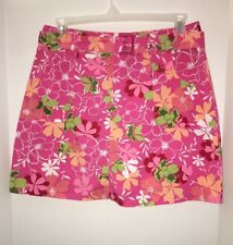 White Stag Large 10 Pink White Floral Mini Skirt Shorts Belt Lilly Stretch