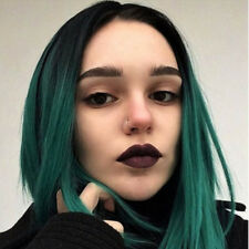 Synthetic Short Straight Ombre Green Bob Hair Two Tone Side Part Wig for Women