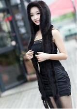 New Genuine Mink Fur Scarf Cape Stole Shawl Wraps Hat Knitted Women Coat G73476