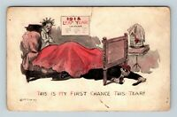 1912 Leap Year Greeting Lady in Bed Hopping Love from Burglar Vintage Postcard