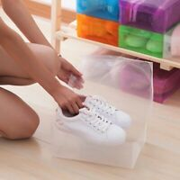 12Pcs Colorful Transparent Shoe Box Foldable Shoe Organizer Box Case Home Use