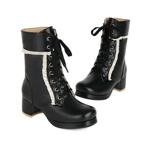Womens Strappy Ankle Boots Block Mid Heels Casual Lace Booties Round Toe Shoes