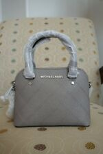 NWT Michael Kors Cindy Mini Crossbody Handbag Pearl Gray Saffiano Leather