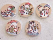 BULK 20 Mixed Round Christmas Design Wooden Buttons 25mm FREE P&P
