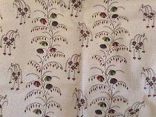 Vintage Cotton Fabric Quilt Single Piece Brown Green Plants Dots Vine Fluid