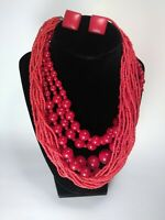 BOLD RED Vintage Jewelry! Group of THREE Beaded Necklaces plus pair ofEarrings!