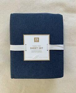 Pottery Barn Teen Twin XL Fave Tee sheet set Navy Heather Knit Soft favorite Tee