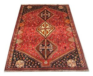 Traditional Red Rug Handwoven Asian Geometric Tribal Area Rug Carpet 142x200cm