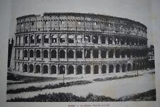 ITALIE ROME LE COLISEE VUE DU COTE EST  GRAVURE PHOTO -ANTIQUE  PRINT