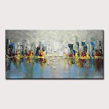 Mintura Handmade Oil Paintings On Canvas Abstract Urban Knife Painting  Wall Art