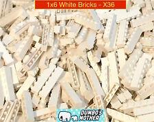 Lego 1x6 White Brick Building Blocks Wall House NEW X36