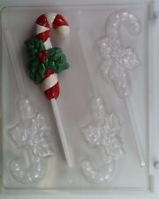 CANDY CANE WITH HOLLY LOLLIPOP CLEAR PLASTIC CHOCOLATE CANDY MOLD C002