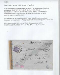 1944     REPARTI ITALIANI SU TUTTI I FRONTI  DI GUERRA   GRECIA O YUGOSLAVIA