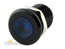 """PLB12B ATI 12mm 1/2"""" Blue 12V LED Metal Indicator Pilot Dash Light Black Casing"""