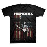 Jimi Hendrix Mens S & 2XL Black Short Sleeve USA Flag Graphic T Shirt New