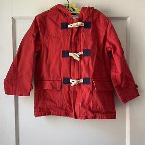 Janie And Jack Red Coat Jacket Zip Toggle Kid Boys 3 To 4