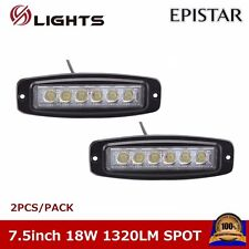 2X 7.5inch 18W LED Work Light Spot Jeep Offroad Driving SUV UTE Boat Flush Mount