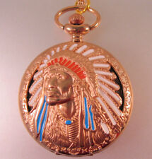 """Native American Indian Chief Pocket Watch Rose Gold Tone w/ 31"""" Necklace Chain"""