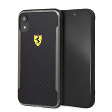 Ferrari iPhone XR Case Black Cell Phone with Printed Carbon Fiber Finish
