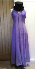 Original Purple Lurex Sparkly 1970s Halter Maxi Dress 10 12 Glam Rock 70s