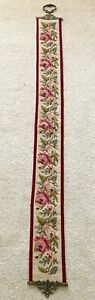 Vintage House Bell Pull Cord Brass Needlepoint Victorian Tapestry Floral Rose 64