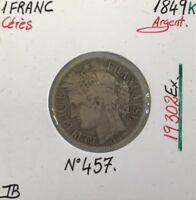 1 FRANC CERES - 1849K - Pièce de monnaie en Argent // TB