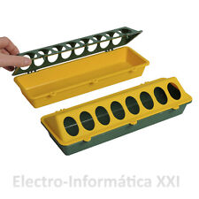 Comedero Lineal 30cm para Pollitos Plástico Verde y Amarillo Resistente E.24-72H