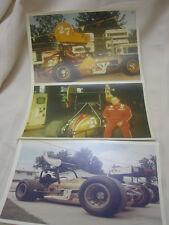 "3 Vintage 1970s Spint Car Photos Greber's Garage Elyria Ohio 7"" X 5"" Color Pics"