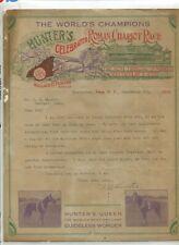 Vintage Illustrated Letterhead HUNTERS CELEBRATED ROMAN CHARIOT RACE 1914 rare!