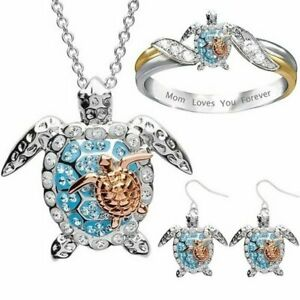 Blue Crystal Turtle Earrings Ring Pendant Necklace Women Beach Jewelry Set Gift