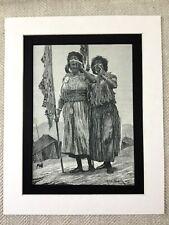 Antique Print Morocco Moroccan Women Girl Middle Eastern 19th Century Original