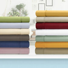 SUPER SOFT CAL KING SIZE 4-PC SHEET SET 1000 TC EGYPTIAN COTTON ALL SOLID COLORS