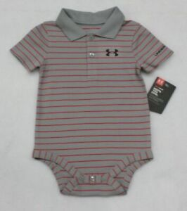 Under Armour Baby Boy Stripe Grey and Red Polo Bodysuit 3-6 Months
