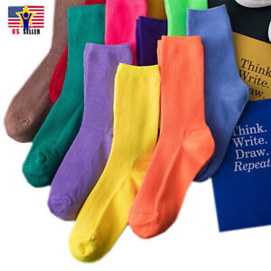 Women Girl Crew Over Ankle Neon Socks Stretchy Fashion Sports Footwear 9 Colors