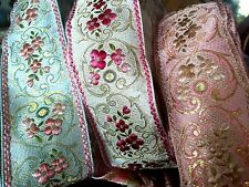 "Vintage 1900s Embroidery 1 7/8"" Jacquard Silk Metallic 1yd Made iin France"