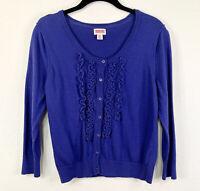 Mossimo Supply Co Women Size L Knit Long Sleeve Ruffle Cardigan Sweater Blue