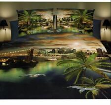 3D Modern Sunset Coconut Tree Theme King Fitted Sheet Cover Linen w/ Pillowcase
