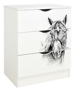 Kommode mit Aufdruck - ROMA - Möbel für ein Kinderzimmer, Pferdeporträt