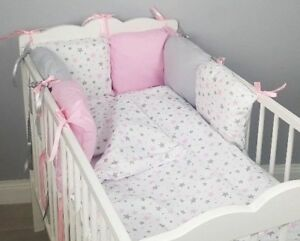 8 pc cot /cot bed bedding sets PILLOW BUMPER + CASES pink grey stars white girls