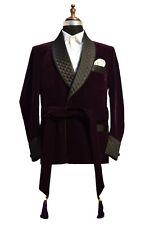 Men Elegant Luxury Stylish Designer Purple Belt Smoking Jacket Party Wear Blazer
