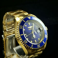 Invicta Men's Watch Pro Diver Automatic Blue Dial Yellow Gold Bracelet