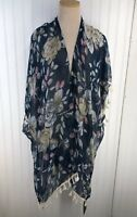 Riah Fashion Women's Outer Layer Floral-Print Semi-Sheer Tassel-Cardigan  NEW