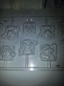 RARE Barney & Friends Lollipop Chocolate Mold by Wilton 2115-3450 w/ sticks