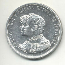 PORTUGAL 1.000 REIS 1898 - 400th ANNIVERSARY DISCOVER OF INDIA - CARLOS I SILVER