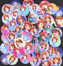 100 Precut assorted Disney Princess Sofia The First BOTTLE CAP IMAGES Variety