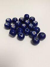 Ceramic Beads 9mm Spacer Bead Dark Blue Peruvian Beads (25 qty)