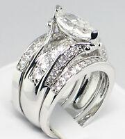 MARQUISE BRIDGE 3.55 CT. Cubic Zirconia Bridal Wedding 3 PC. Ring Set - SIZE 8